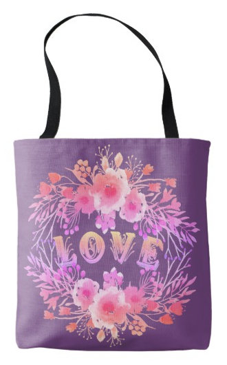 Purple LOVE in Watercolor Flowers