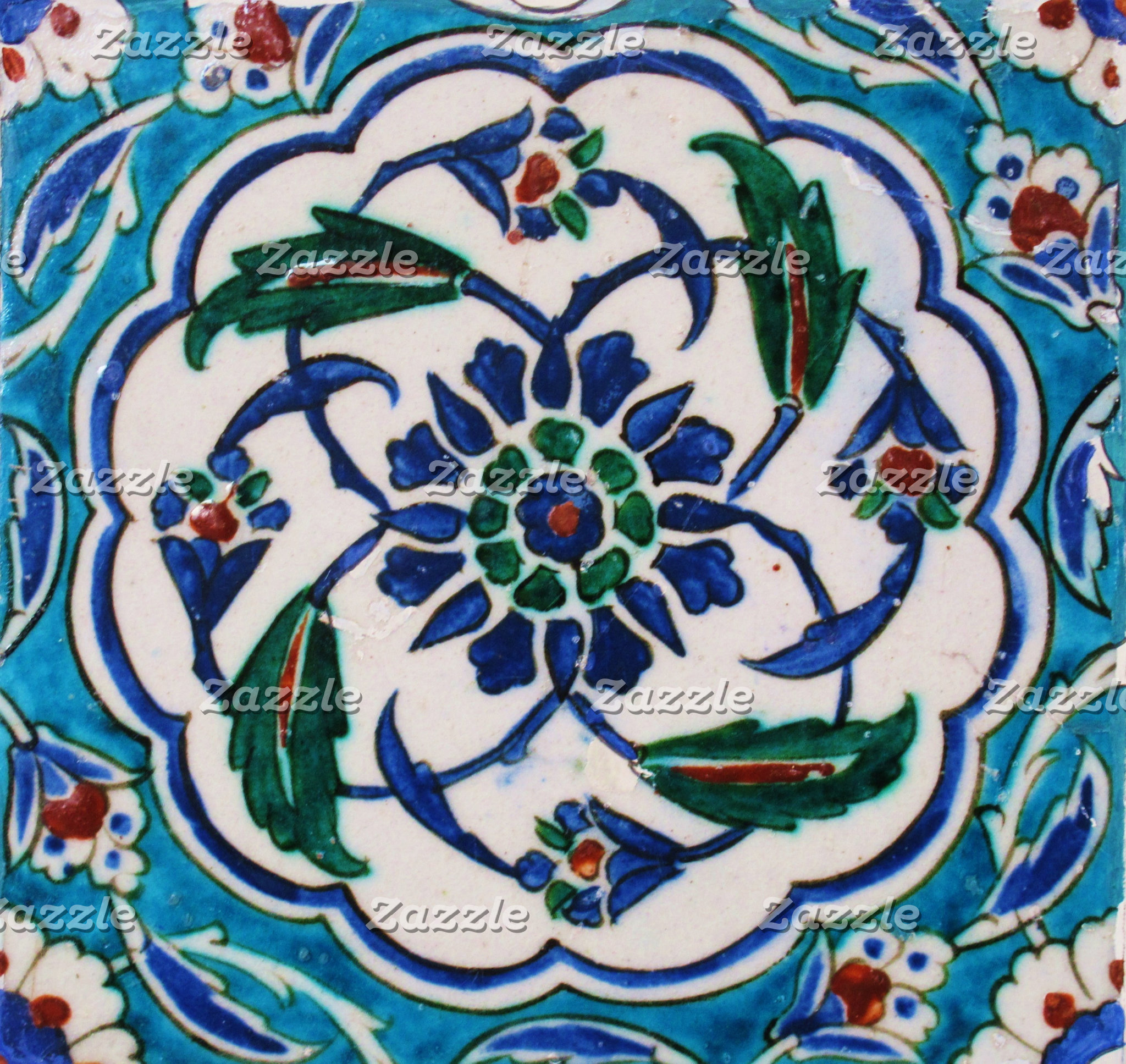 Blue and White Floral Isnik Tile