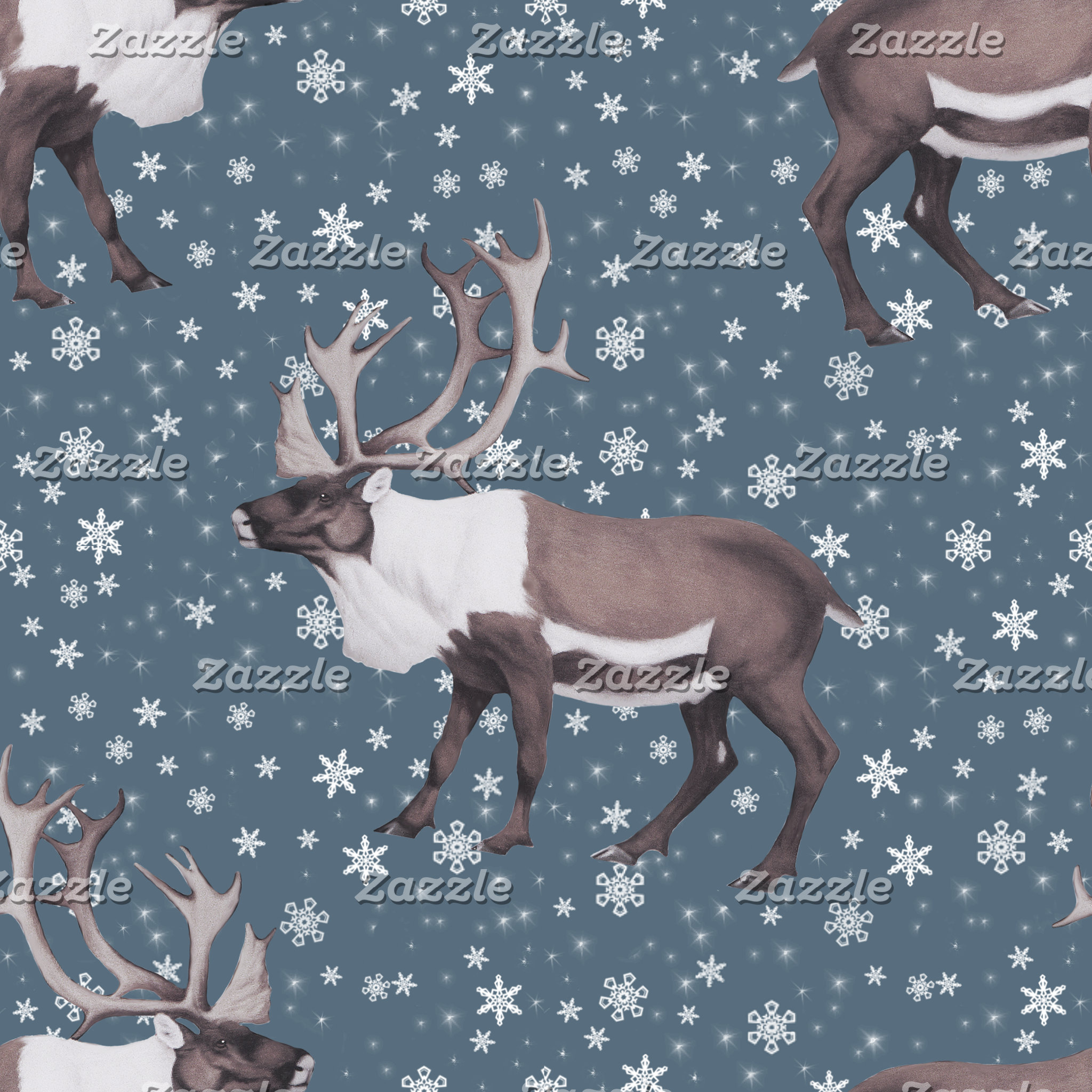 Caribou Reindeer Snowflakes on Blue