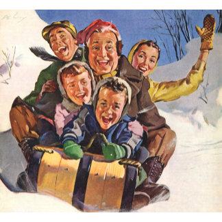 Family Sledding on Christmas Day