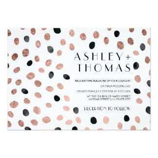 Rose gold black watercolor modern polka dots
