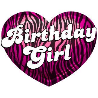 Birthday Girl Zebra Heart