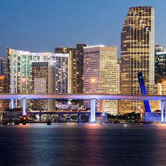 Illuminated skyline of downtown Miami at dusk