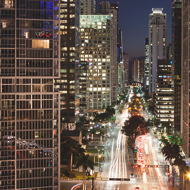 Brickell Avenue, downtown Miami, at night
