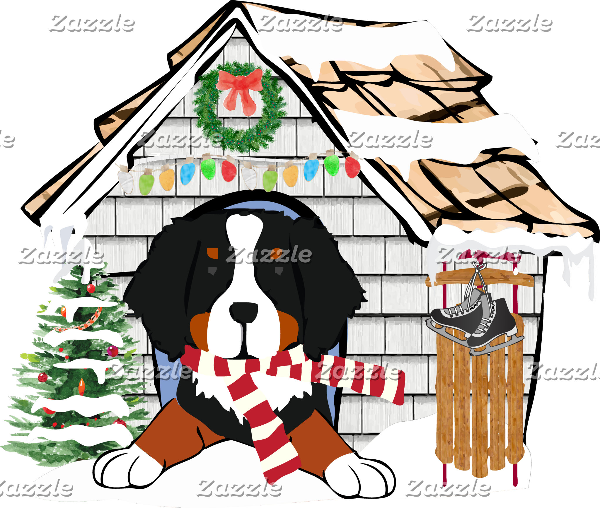 Bernese Mt Dog Christmas Doghouse