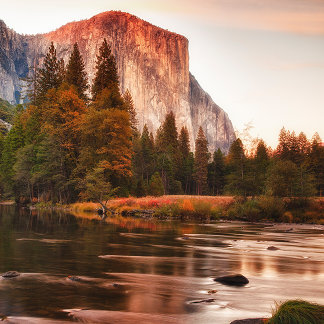 El Capitan and Lake at Sunset
