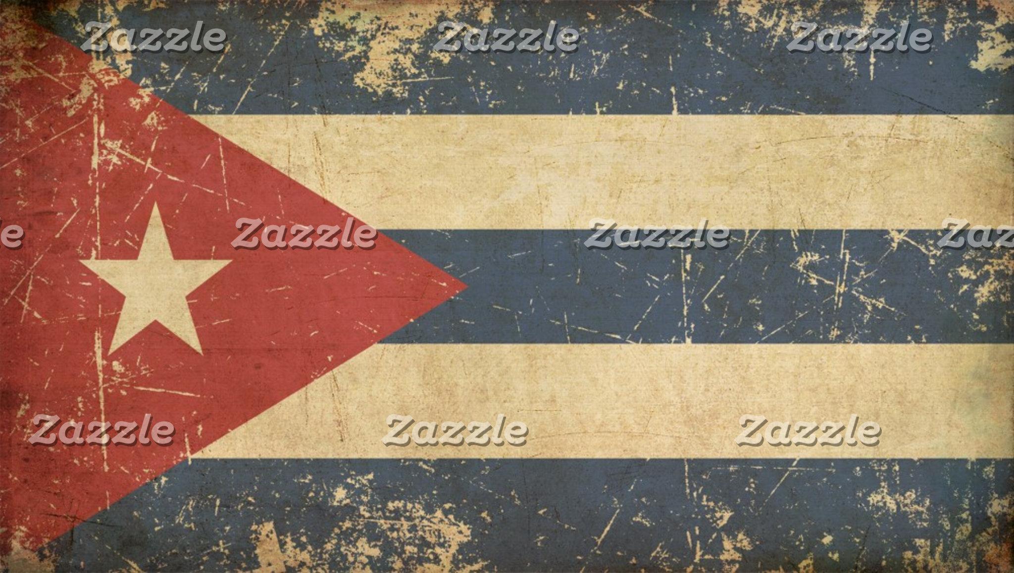 Cuban Aged Flat Flag