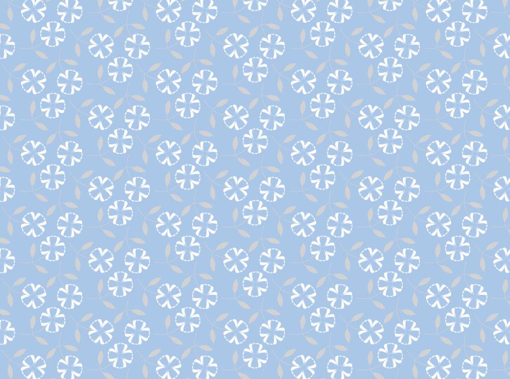 Little White Flowers & Blue Background Pattern