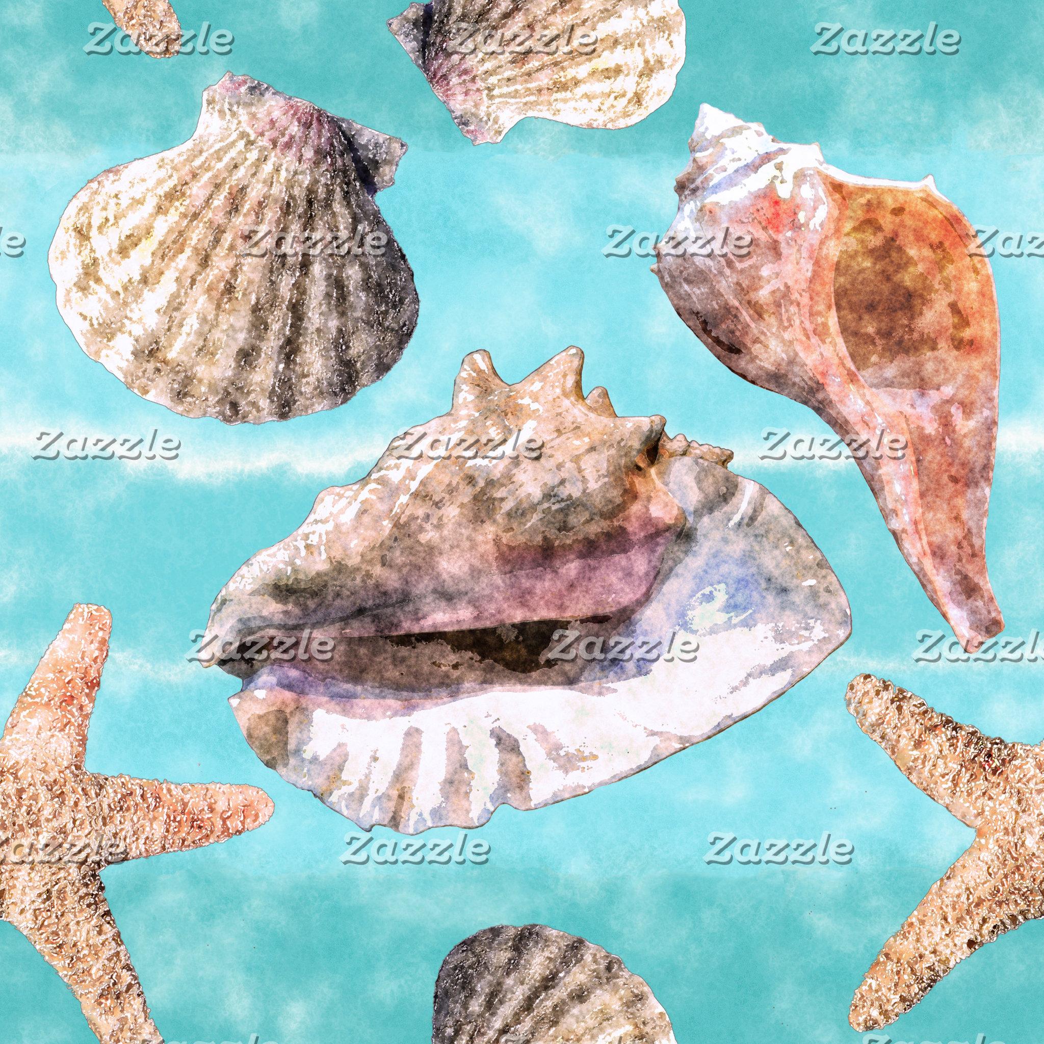 Sea Shells Ocean Blue Stripes