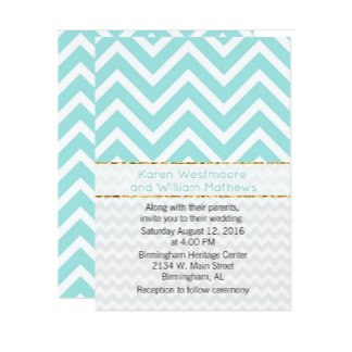 Modern Aqua Chevron Wedding Set
