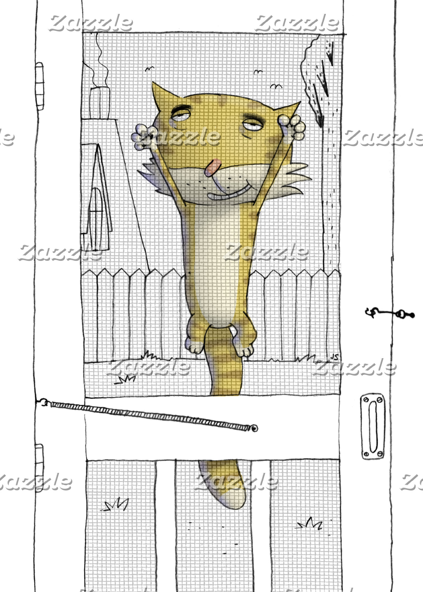 """Cat on Screen Door poster print"""