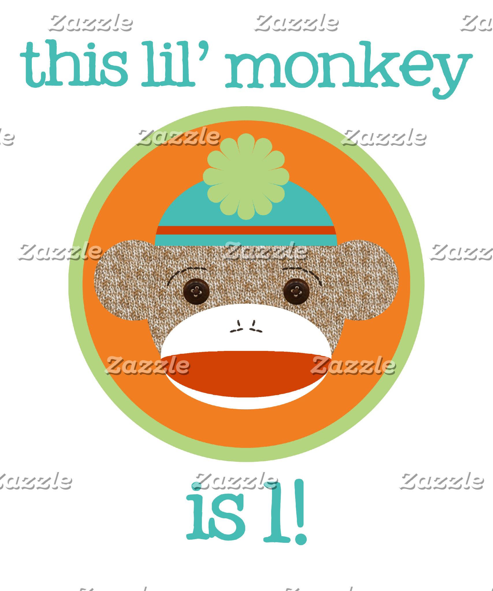 Bright Colors Sock Monkey Birthday Shirts