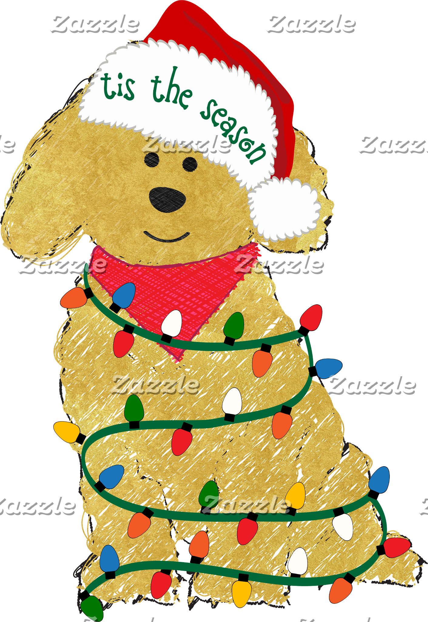 Christmas Lights Goldendoodle