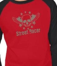 Vintage Skull Wings Stars Street Racer