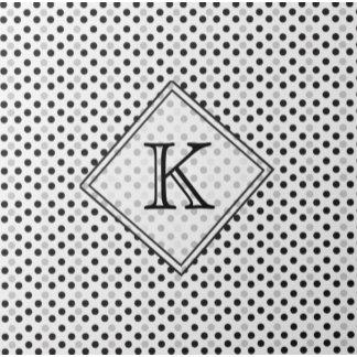 Monogramed BlackWhiteSmall PolkaDot