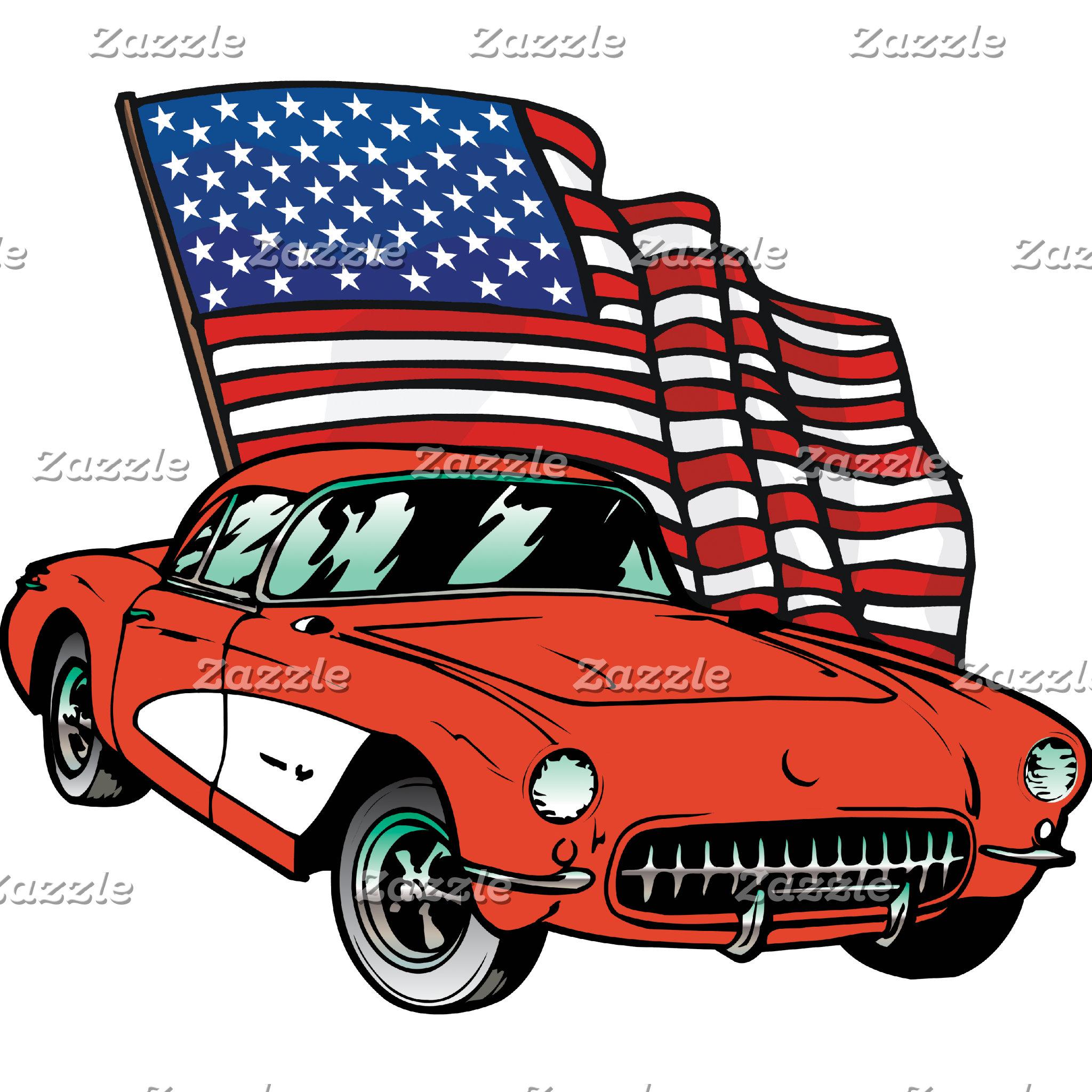 American Flag Antique Vintage Muscle Car