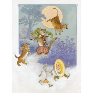 """Hey Diddle Diddle Mother Goose Poster Print"""