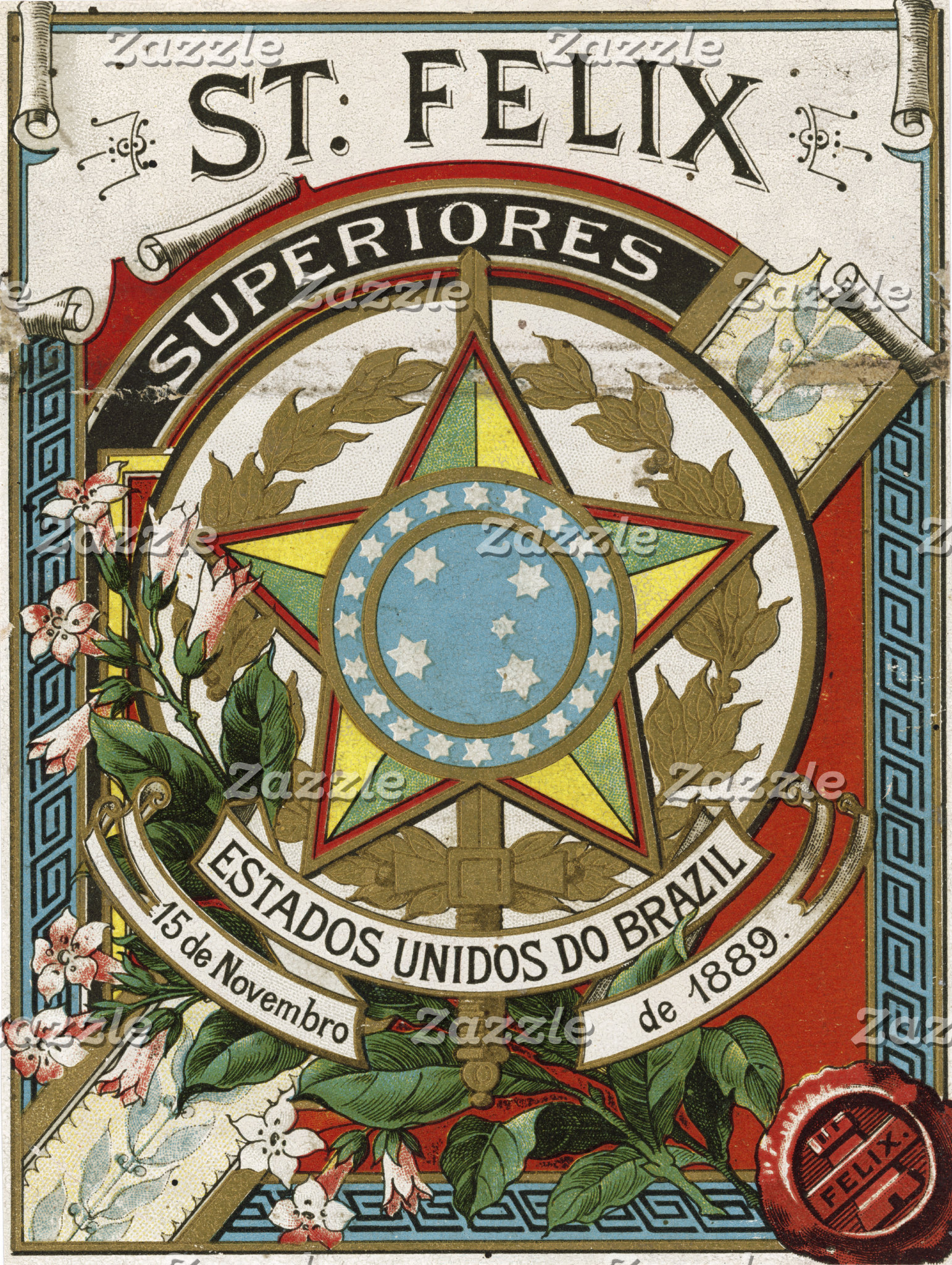 """Brazil Crest Poster Print"""