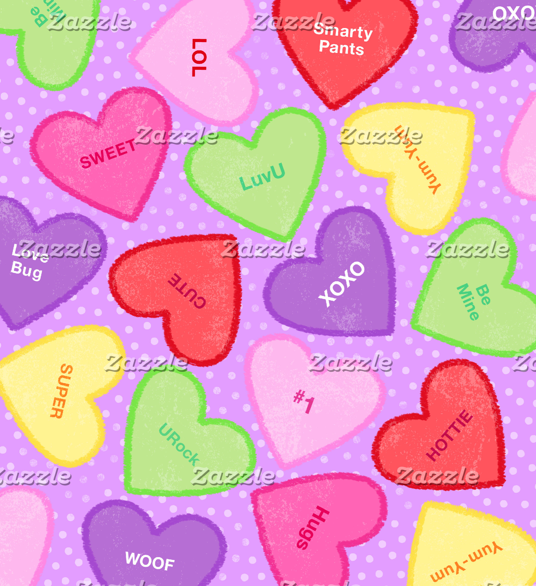 Colorful Conversation Hearts with Purple Dots
