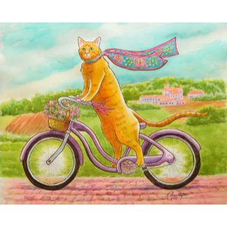Orange Cat on a Purple Bicycle