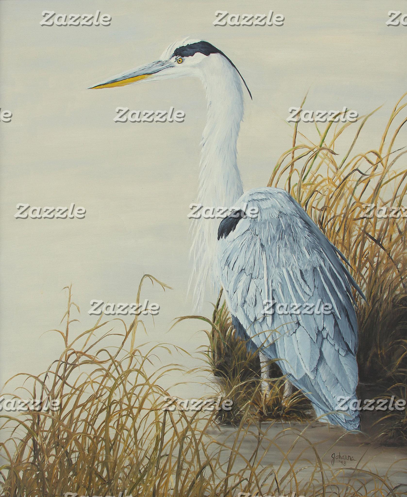 Heron At Marsh Edge