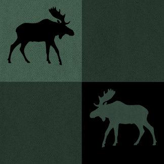 Moose Black Green Plaid
