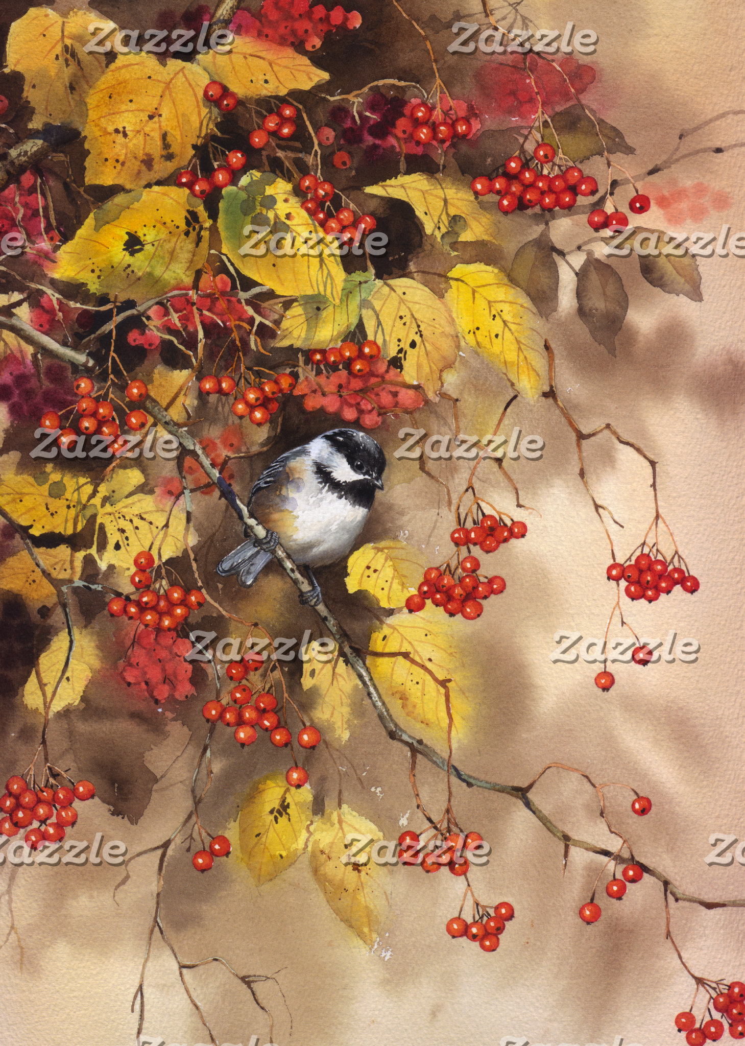 """Bird on Branch with Berries Poster Print"""