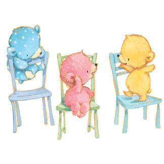 Yellow, Pink, and Blue Bears on Chairs