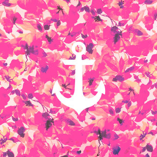 Retro Monogram Nautical Anchor Pink Floral Pattern