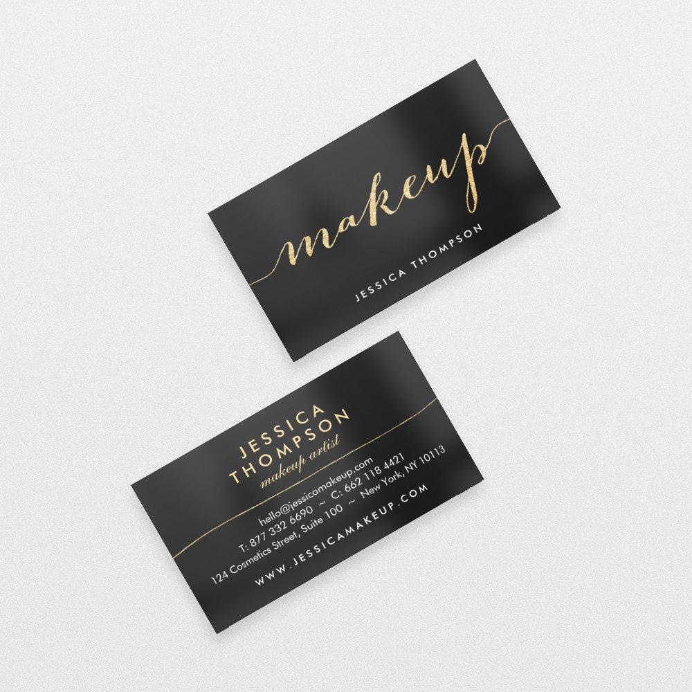 Black elegant gold faux glitter chic makeup artist