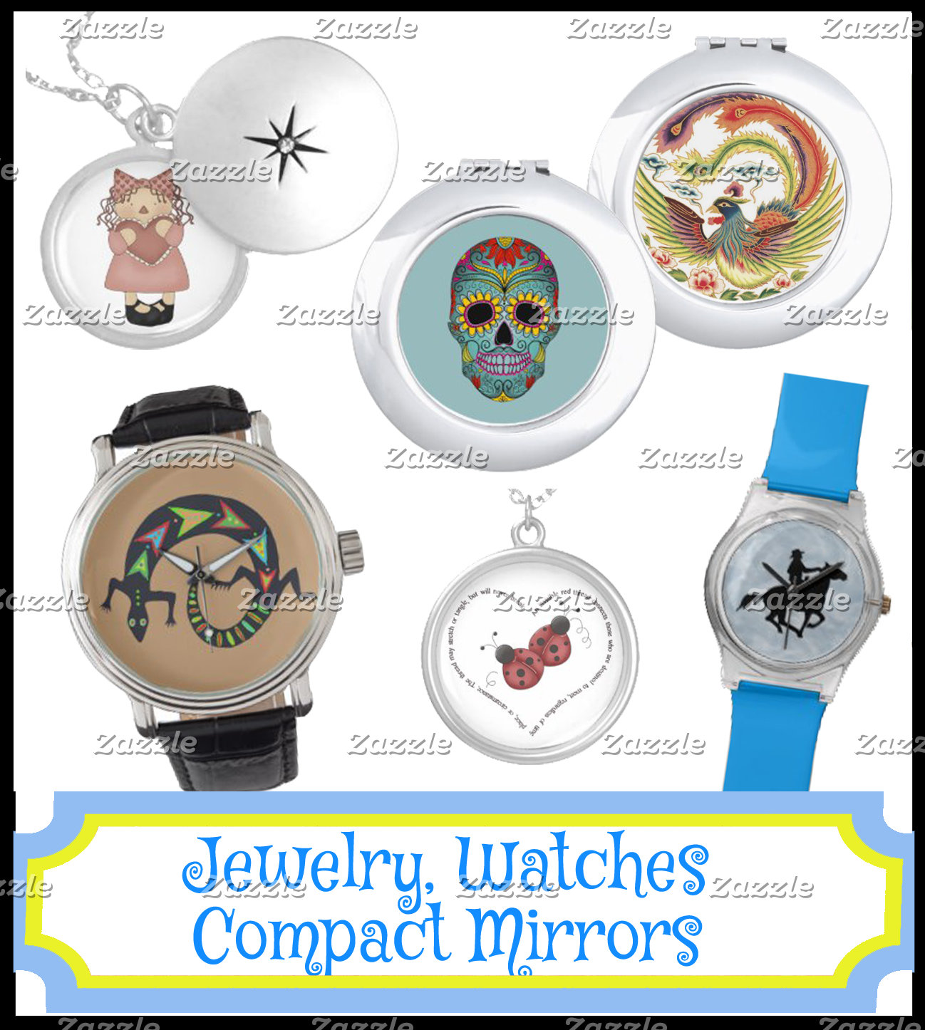 JEWELRY, WATCHES, COMPACT MIRRORS