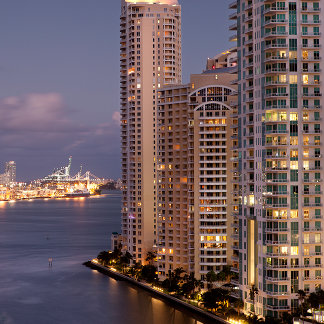 Dusk view from Brickell to the port of Miami