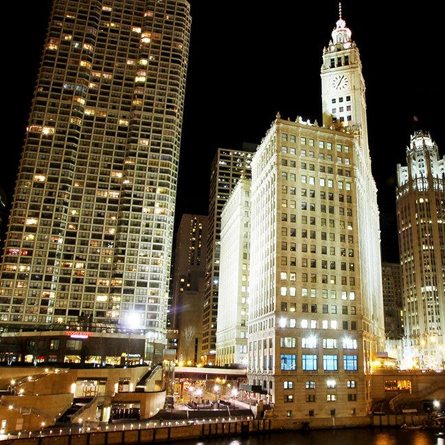 Chicago famous landmark at night