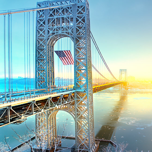 GWB connecting Fort Lee NJ and Manhattan NYPlus