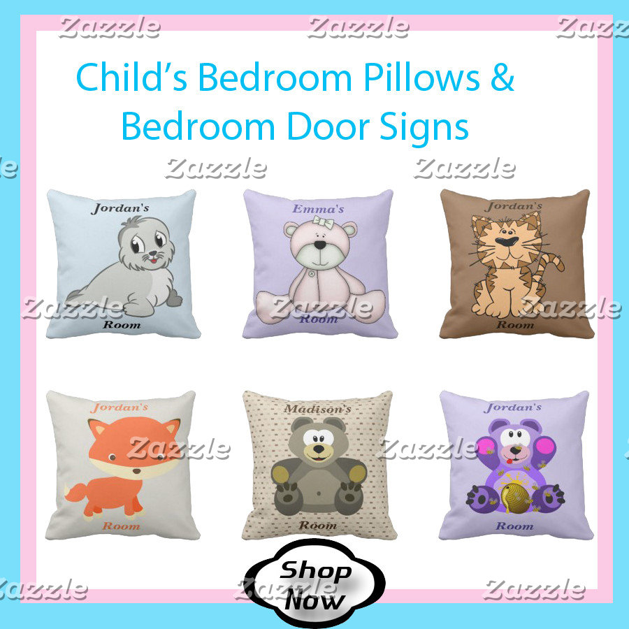 Child's Bedroom Pillows, Door Signs, Clock, Lamp