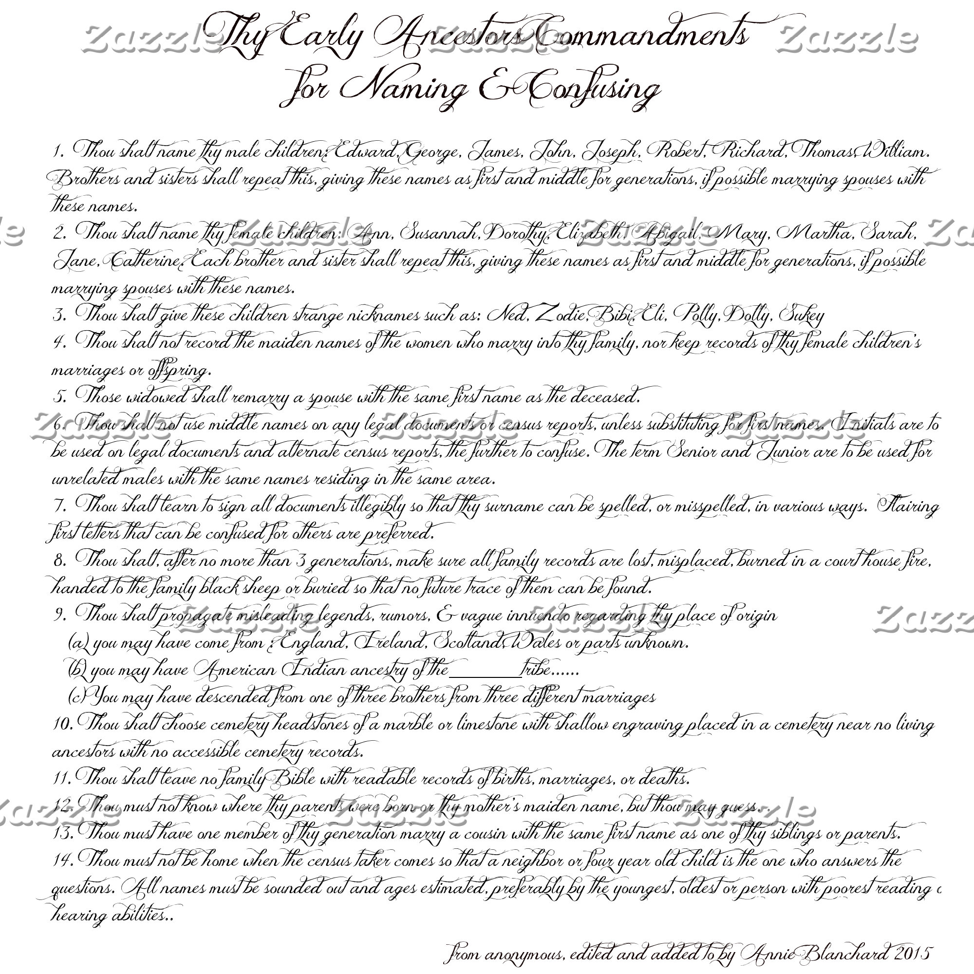 Humor - Early Ancestor Commandments