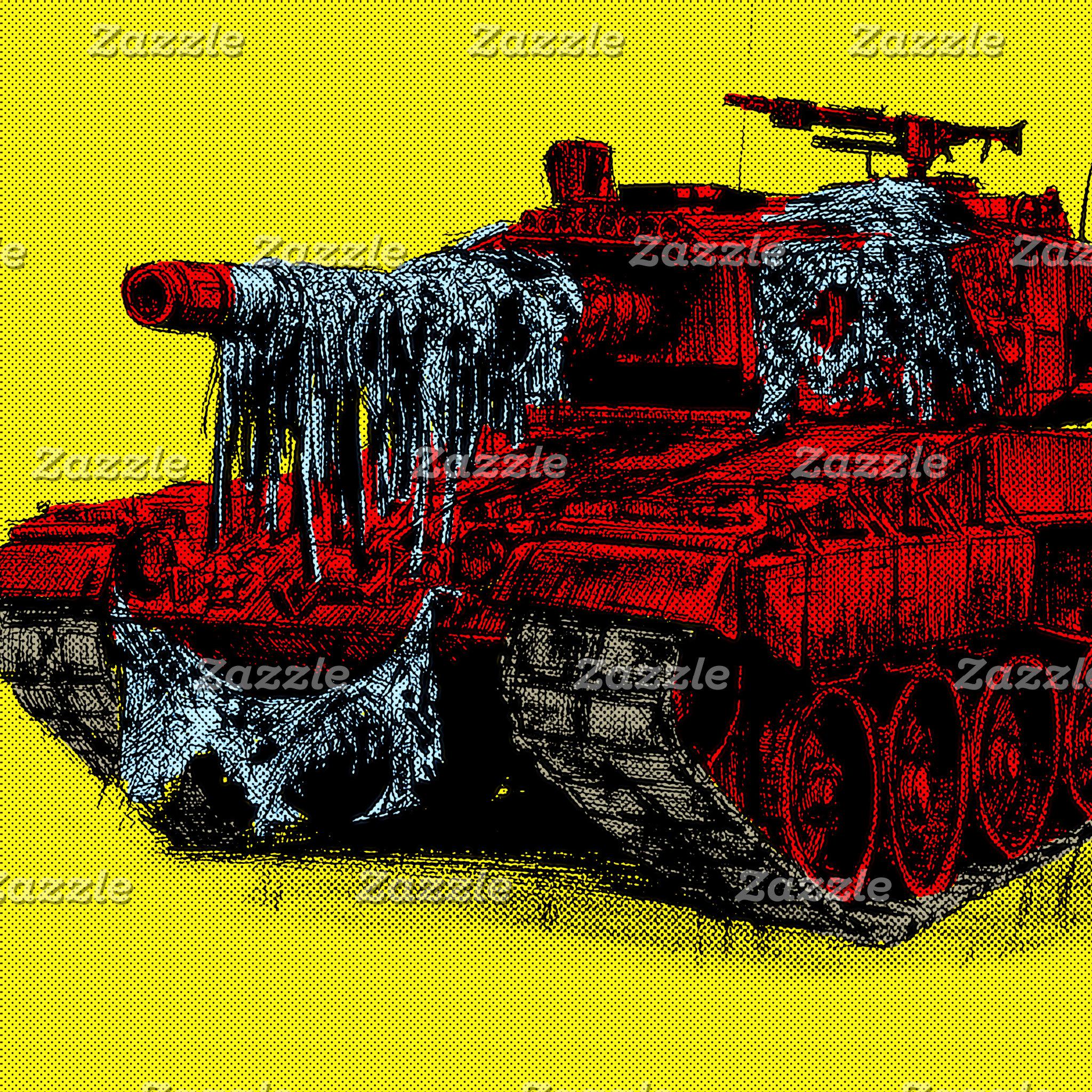 Pop Machine No. 1, half-tone yellow and red tank
