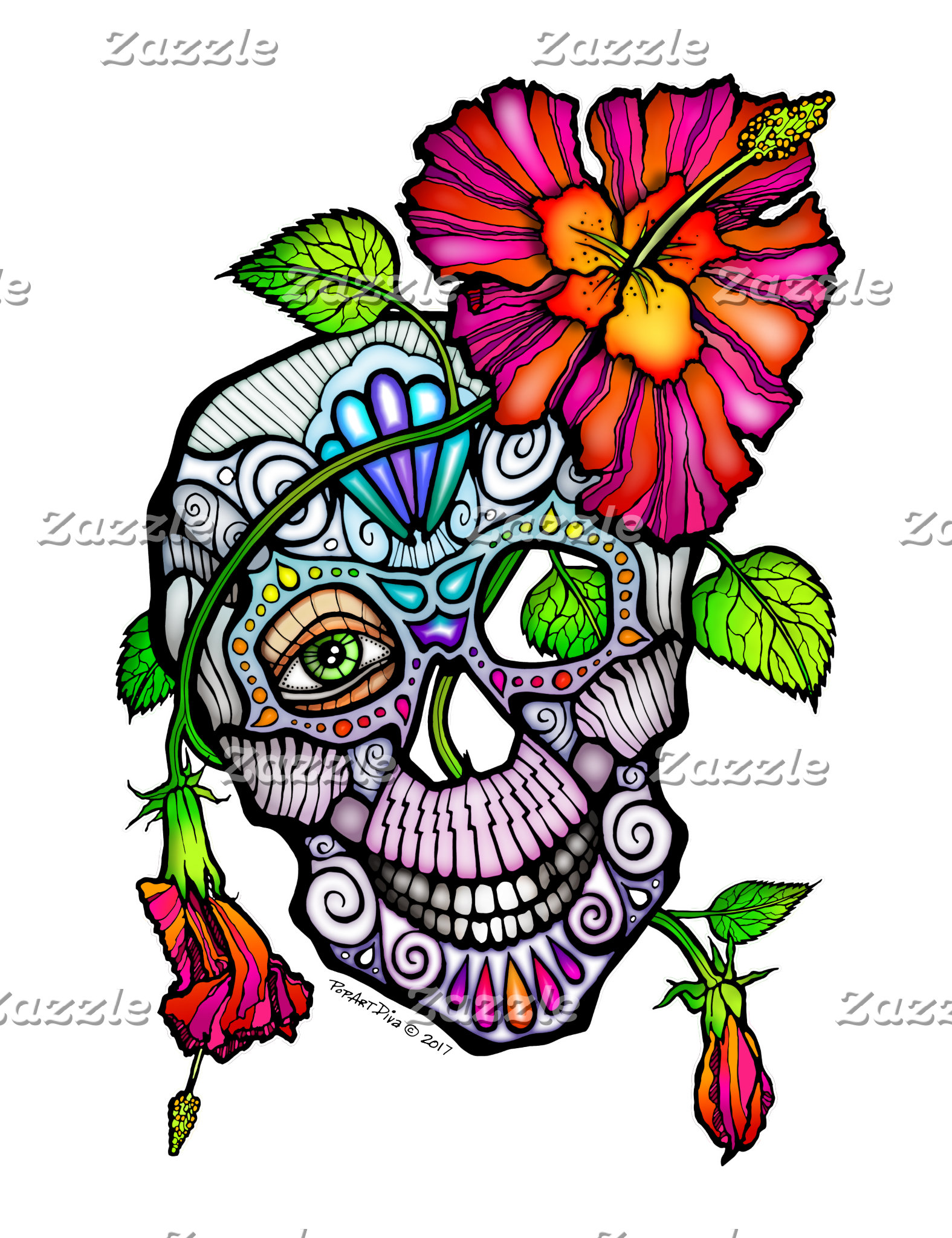 aaz. SUGAR SKULL & FLOWER