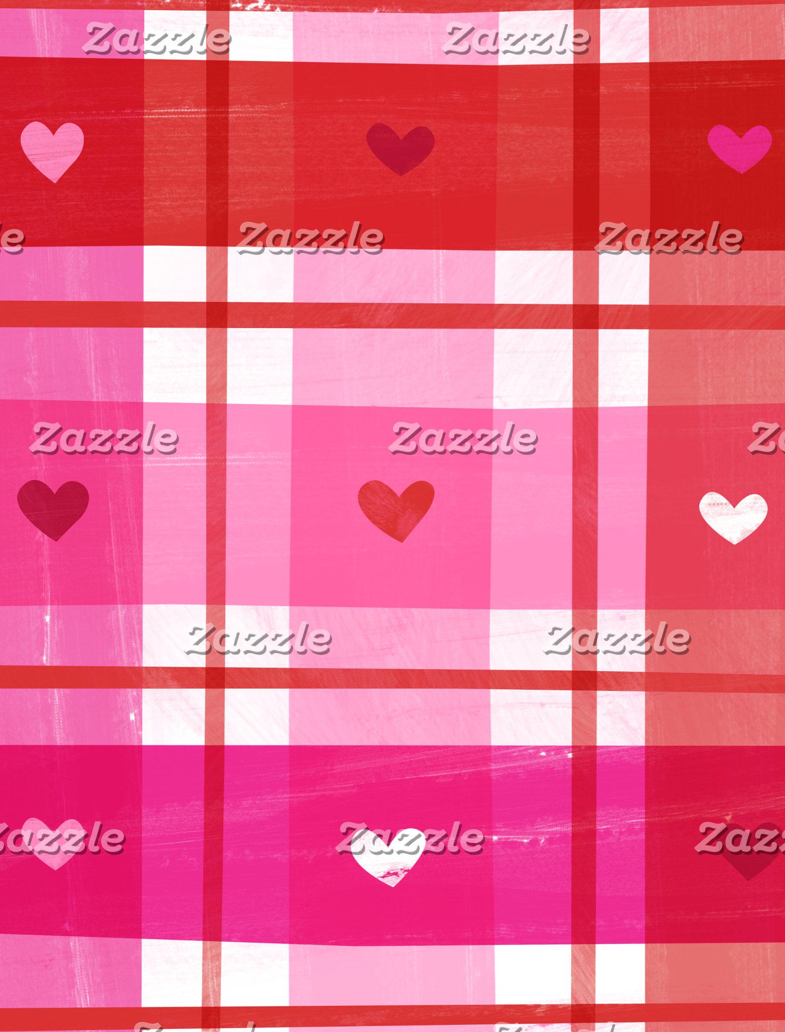 Pink Plaid Heart Pattern