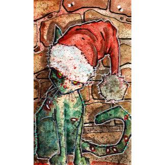 santa hat zombie cat