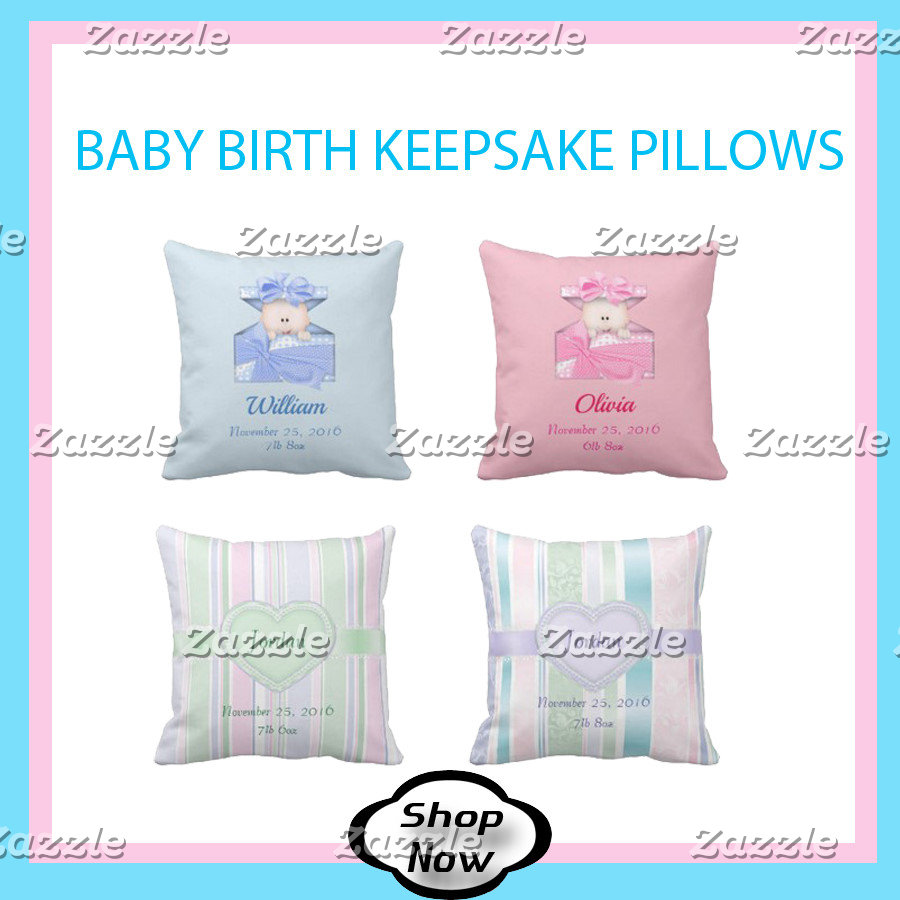 Baby Birth Stats Nursery Pillows