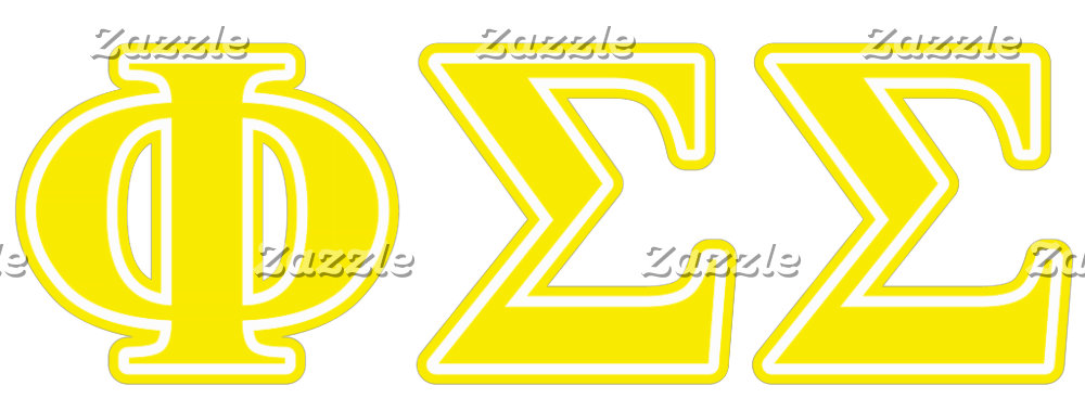 Phi Sigma Sigma Yellow Letters