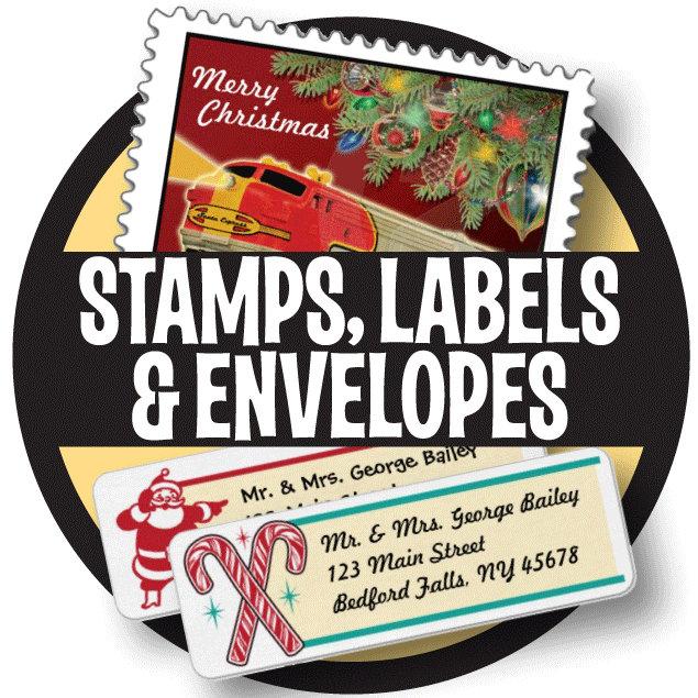 Holiday Stamps, Labels + Color Envelopes