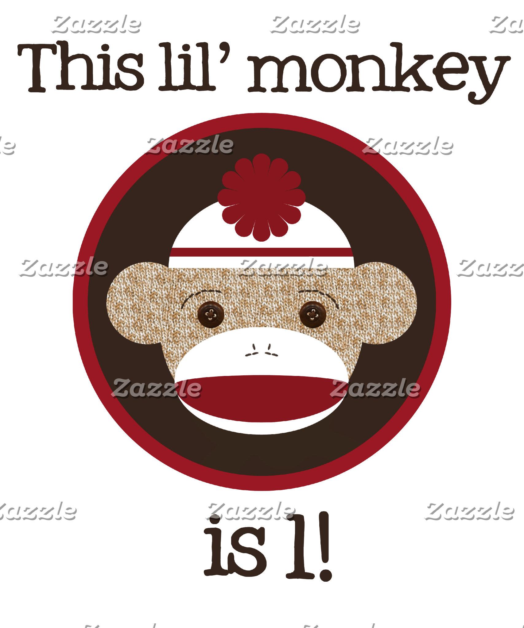 Red & Brown Sock Monkey Birthday Shirts