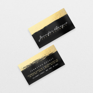 Chic black and gold faux foil modern brush stroke