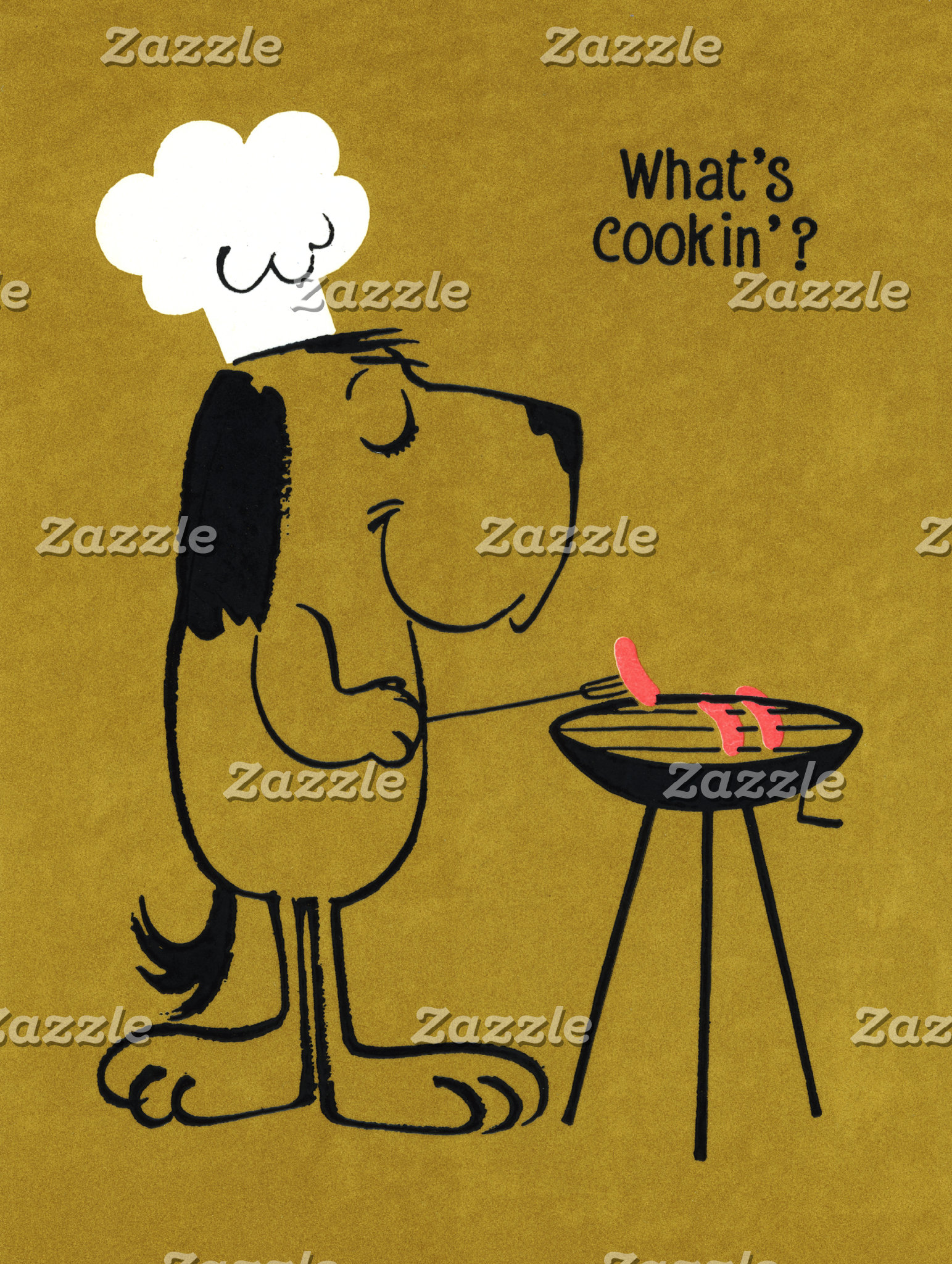 """Barbecue dog at grill Poster Print"""