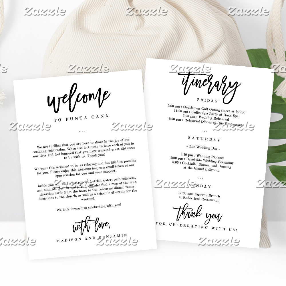 Welcome + Itinerary Cards