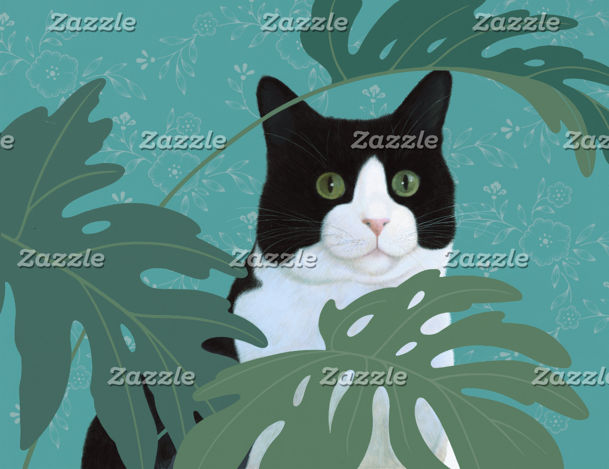 """Black and White Cat with Green Eyes Poster Print"""