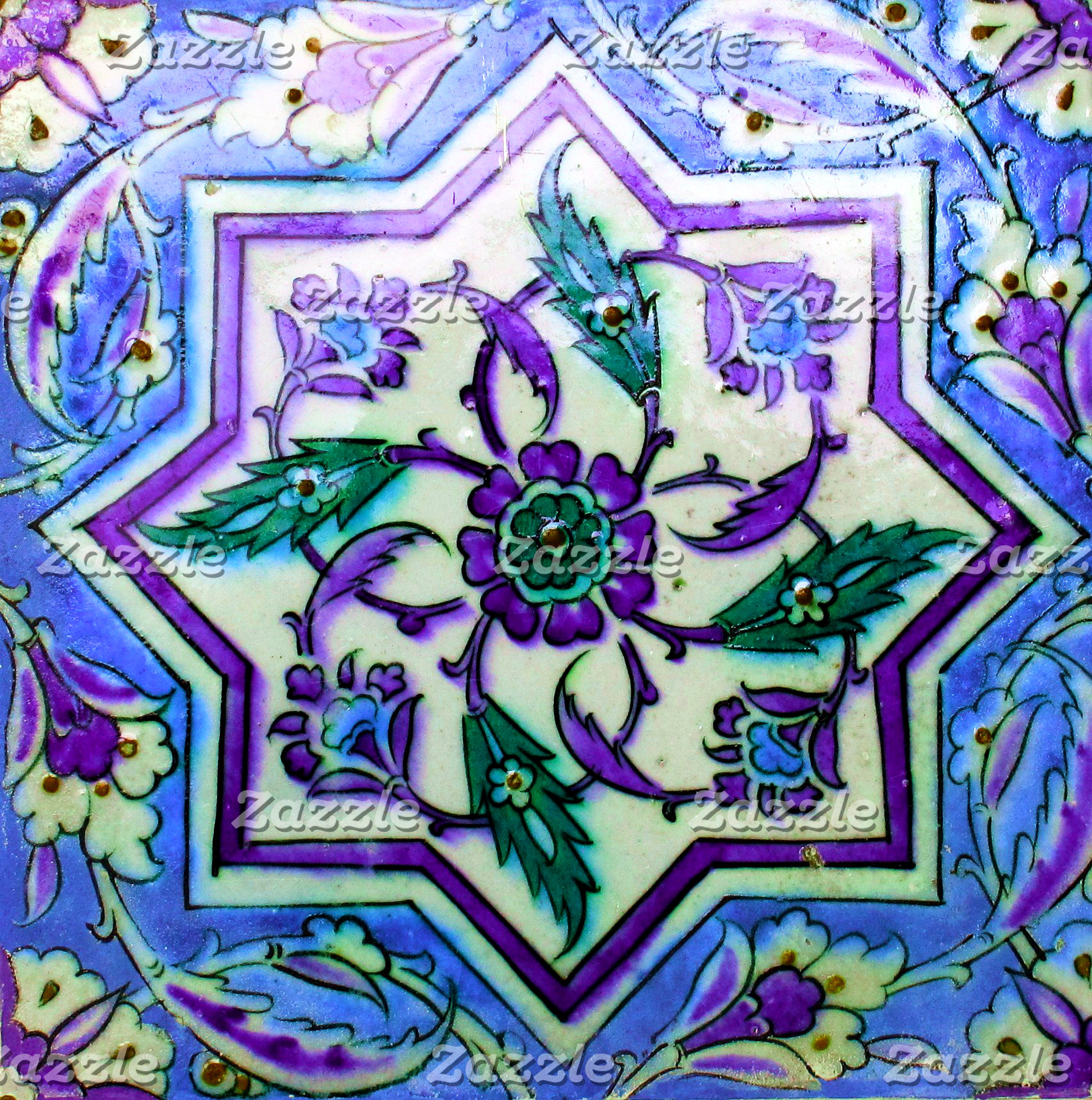 Blue and Purple Geometric Isnik Tile