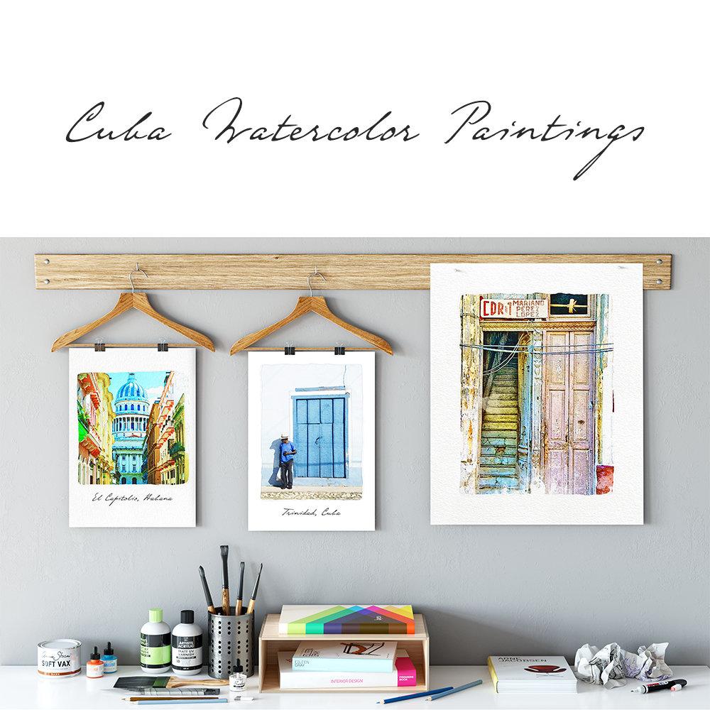 Cuba Watercolor Paintings